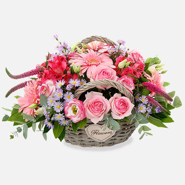 9fe6e5de9c Ψάθινη Τσάντα με Ροζ Λουλούδια - Αποστολή Λουλουδιών Αθήνα Ελλάδα ...