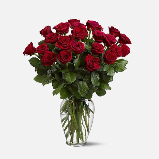 24 Τριαντάφυλλα σε Βάζο - flowernet.gr