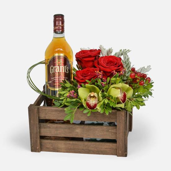 Καφασάκι με 1 Φιάλη Whiskey - Flowernet.gr