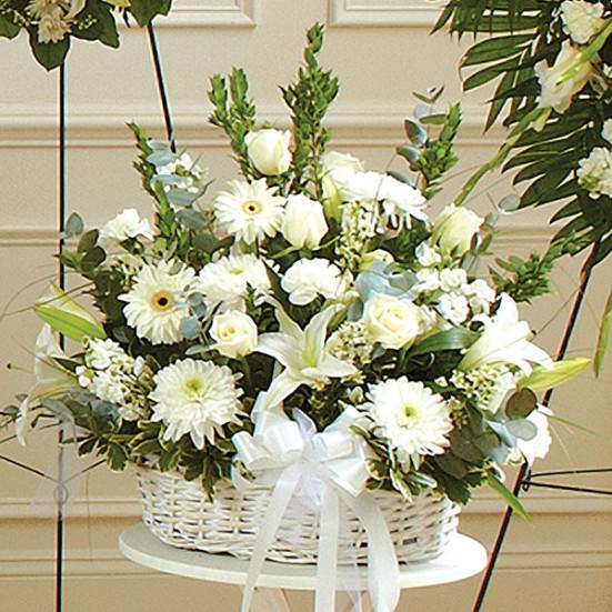 Λευκά Λουλούδια σε Καλάθι - Flowernet.gr