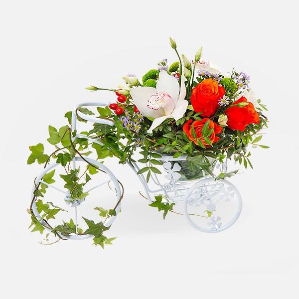 Ποδηλατάκι με Λουλούδια - Τριαντάφυλλα Ορχιδέες Λυσίανθοι - Flowernet.gr