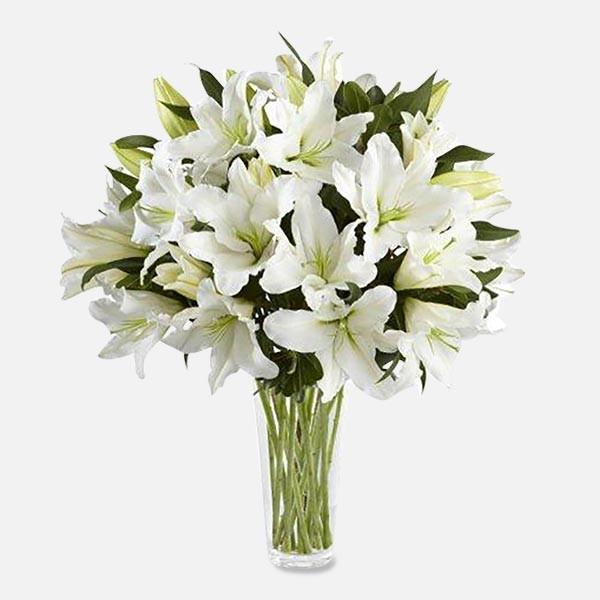 Λευκά Λίλιουμ σε Βάζο - Flowernet.gr