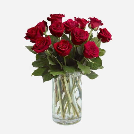 12 Τριαντάφυλλα σε Βάζο - Flowernet.gr