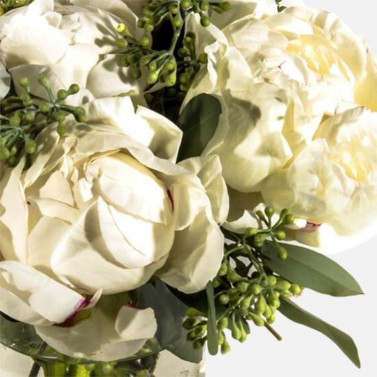 Λευκές Παιώνιες σε Βάζο - Flowernet.gr