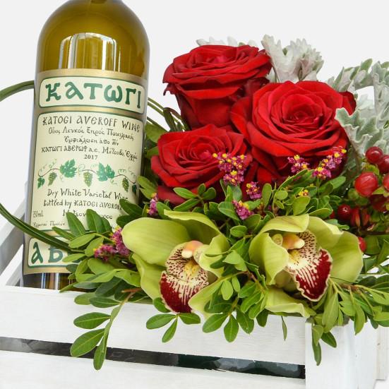 Λευκό Καφασάκι με 1 Φιάλη Κρασί - Flowernet.gr
